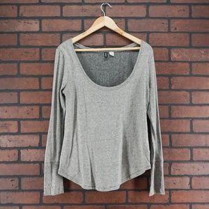 UO BDG Scoop Neck Thermal Shirt Waffle Knit Gray